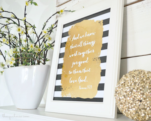 Free Black White and Gold Scripture Printable